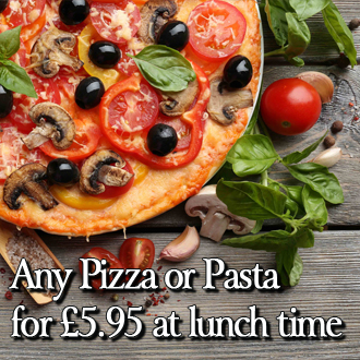 The Italian Job Lunch-time Offer. Any Pizza or Pasta for £4.95